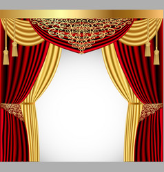 A red curtain with a gold lambrequin and a vector