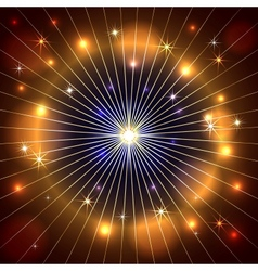 abstract star rays and fire dark background vector image