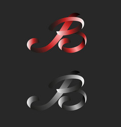 B letter logo ribbon monogram hand drawn elegant vector