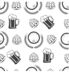 beer poured in glass hops and barrel seamless vector image