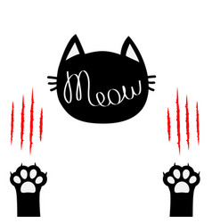 black cat head meow lettering contour text two vector image vector image