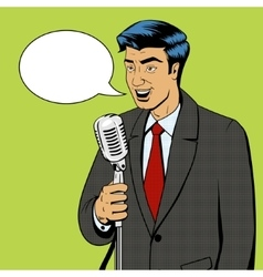 Businessman with microphone pop art vector