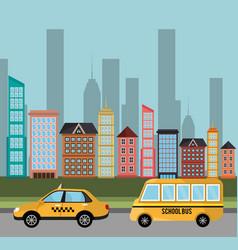cab school bus transport building vector image
