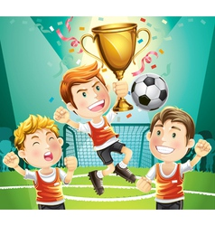 children soccer champion vector image