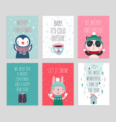 Christmas card set with cute animals hand drawn vector