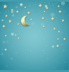 christmas night background golden stars and vector image