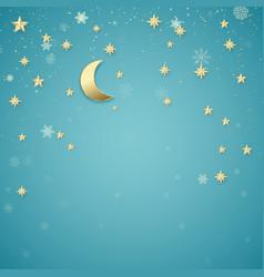 christmas night background golden stars vector image