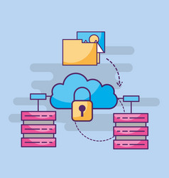 cloud storage cyber security folder files photo vector image