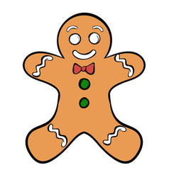 Cookie man icon cartoon vector