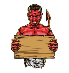 Creepy red devil with blank wooden board vector