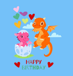 Dragons happy birthday card banner vector