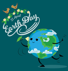earth day happy sun heats earth with its yellow vector image