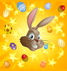 easter rabbit and chocolate eggs vector image