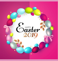 easter wreath with realistic colorful eggs gold vector image