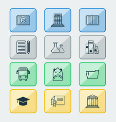 education icons set with books audio book vector image