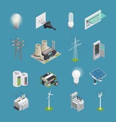 Electricity power icons isometric collection vector