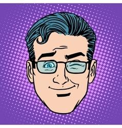 Emoji game wink man face icon symbol vector