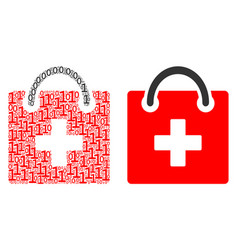 First aid kit collage of binary digits vector