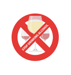 flat stop drinking icon of alcohol glass vector image