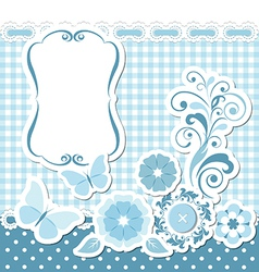 Floral scrapbook blue set vector image