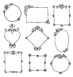 frames with flowers and curls on a white vector image