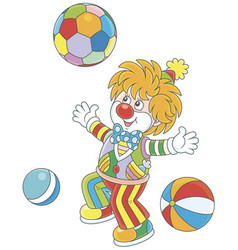 funny clown playing with colorful balls vector image