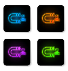 glowing neon customer attracting icon isolated on vector image