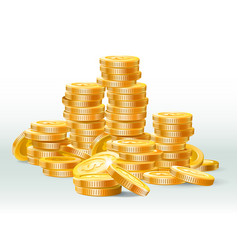 golden coins pile gold coin dollar money stack vector image