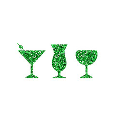 green abstract cocktail icons vector image