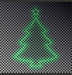 Green neon christmas tree with star isolated tran vector