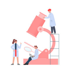 Group scientists in lab tiny people in white vector
