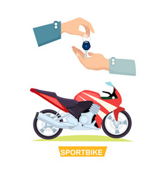 Hand passing key process of buying sportbike vector