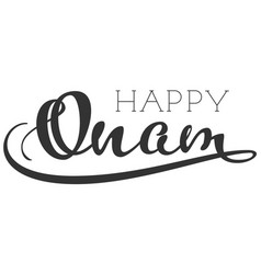Happy onam indian religious holiday handwritten vector