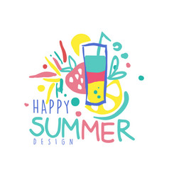 happy summer logo template design colorful hand vector image