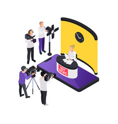 hot news broadcast composition vector image