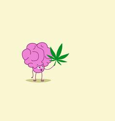 human brain holding marijuana leaf ganja legalize vector image