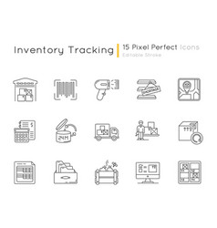 Inventory tracking pixel perfect linear icons set vector