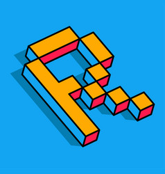 isometric r letter r 3d logo vector image
