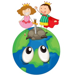 kids on earth planet vector image