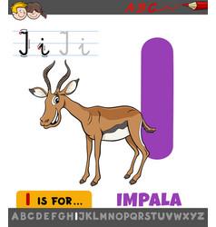 Letter i worksheet with cartoon impala animal vector