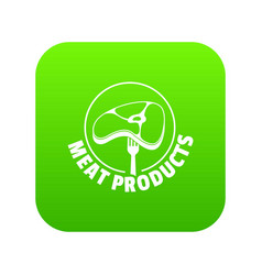 meat products icon green vector image