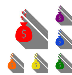 money bag sign with currency symbols set of red vector image