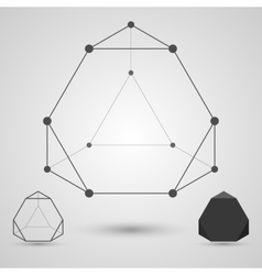 Monochrome wireframe of connected lines and dots vector image