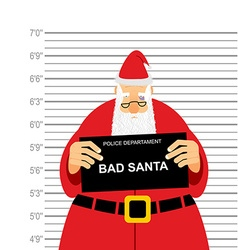 Mugshot is bad santa arrested sana claus at police vector