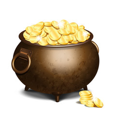 old iron cauldron full of gold coins vector image