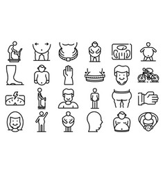 Overweight icons set outline style vector