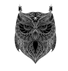 owl white brush vector image