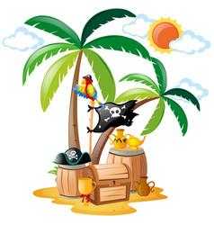 Parrot standing on pirate bird vector