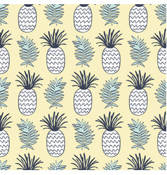 Pineapples and tropical leaves seamless pattern vector