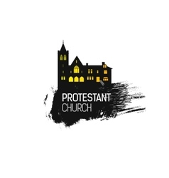 Protestant cathedral church and splash vector